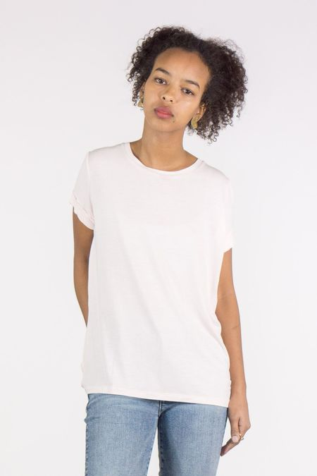 Majestic Extrafine Shortsleeve Crew Neck With Back Pleat - Pale Pink