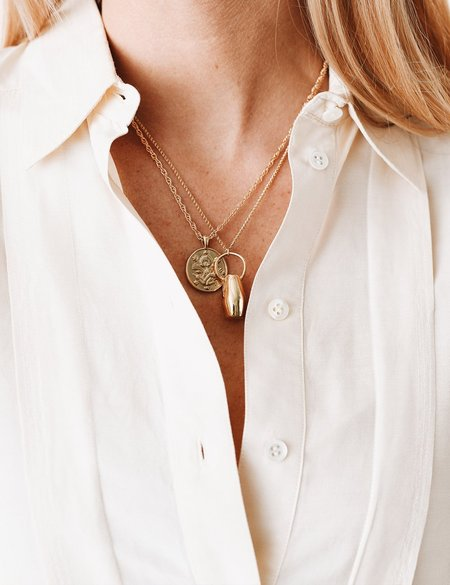 I Like It Here Club Pottery Piece Necklace - Gold