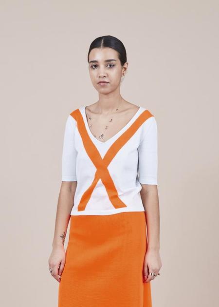 Sartoria Vico Knit V-Neck Tee - Ice/orange