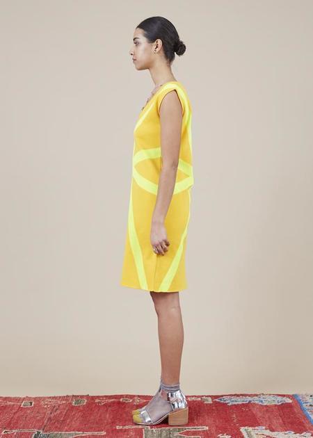 Sartoria Vico Sleeveless V-Neck Dress - golden yellow