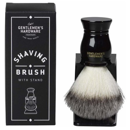 Gentleman's Hardware Synthetic Shaving Brush & Stand - Black