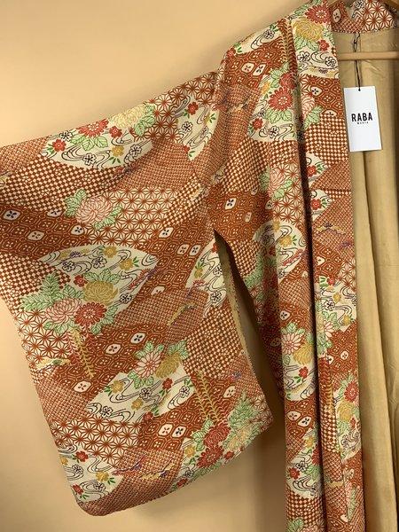 RABA MARFA VINTAGE SILK JAPANESE KIMONO - RUST FLOWER