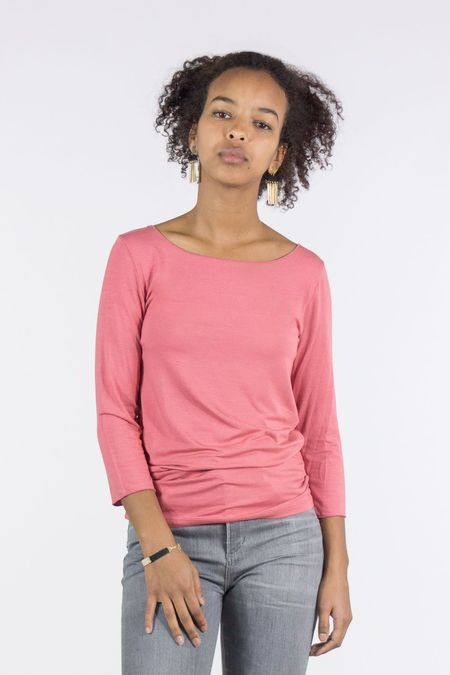 Majestic 3/4 Sleeve Boat Neck Top - Bright Blush