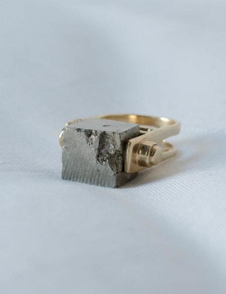 L'Enchanteur Pi Amulet Ring - Gold Vermeil/Pyrite