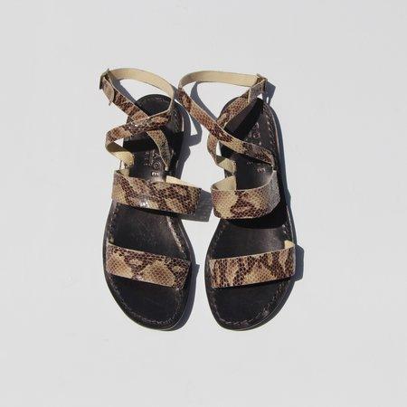 Capri Positano Double Band Wrap Sandals - Python