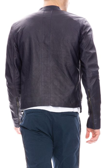 Lot78 Distressed Leather Jacket - Navy