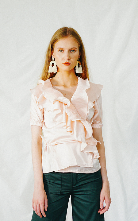 ENSEMBLE THE LABEL GLADIOLA WRAP BLOUSE - LIGHT PINK