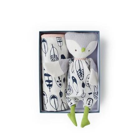 Kids Hazel Village Jeremy Owl and Feather Print Swaddle Gift Set