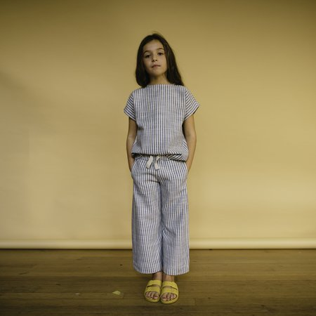 KIDS Repose AMS Striped Woven Tee - Sand/Blue Stripe