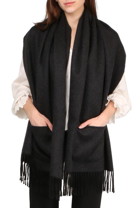 Alonpi Cashmere Reversible Stole With Pockets - Black/Charcoal