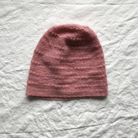 Ros Duke Cashmere Textured Beanie Hat - Dusty Pink