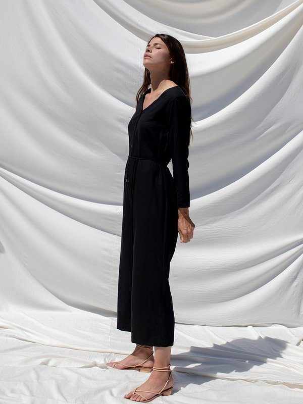 Ozma l/s silk noil cypress playsuit - black