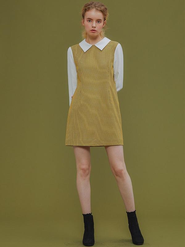 975400db44263 TEATIME OF SPRING Check Layered Mini Dress - Yellow on Garmentory