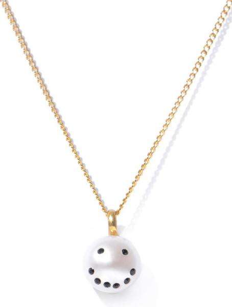 Smiley Emoticon Diamonds & Pearl Pendant