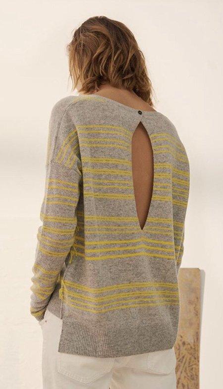 Charli Clove Cashmere Irregular Stripe Pullover - Canary/Grey Stripe