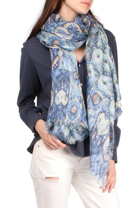Alonpi Cashmere Giacarta Printed Stole scarf - Blue Multi