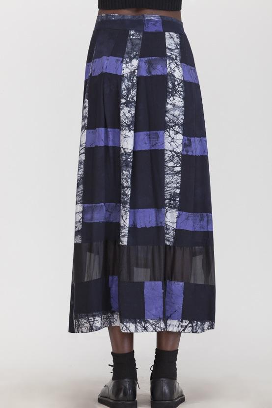 Osei-Duro Kumasi Pleated Skirt Cobalt Grid