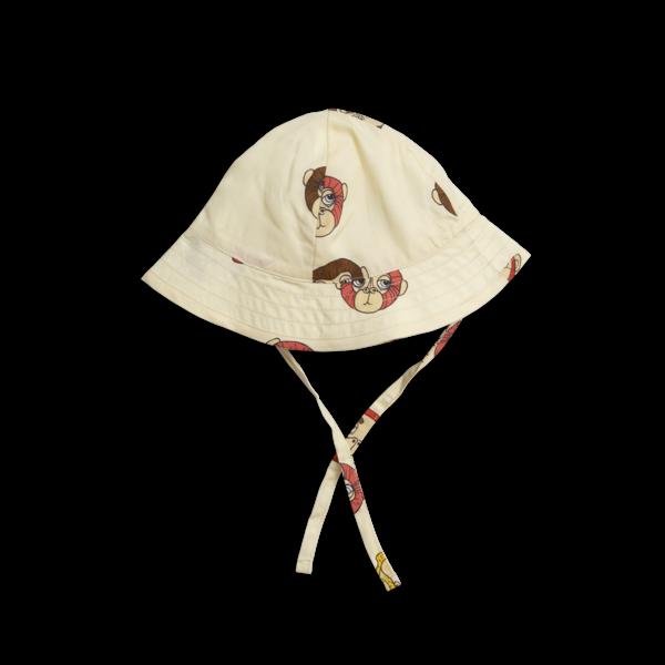Kids Mini Rodini Monkey Sun Hat - Off White