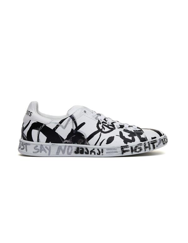 81b41328a0cb32 Vetements Graffiti Leather Sneakers | Garmentory