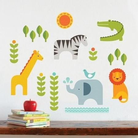 Kids Jake and Jones Petit Collage Safari Wall Decal
