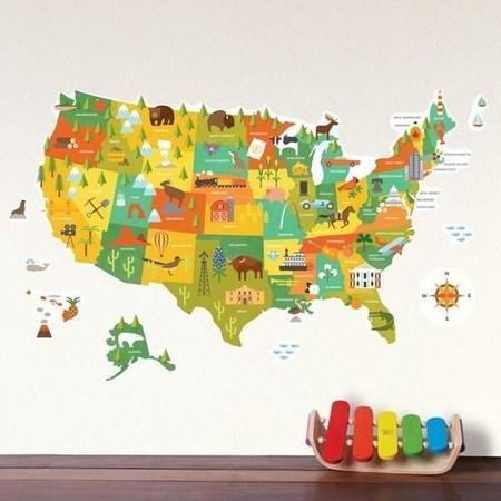 Kids Jake and Jones Petit Collage USA Wall Decal