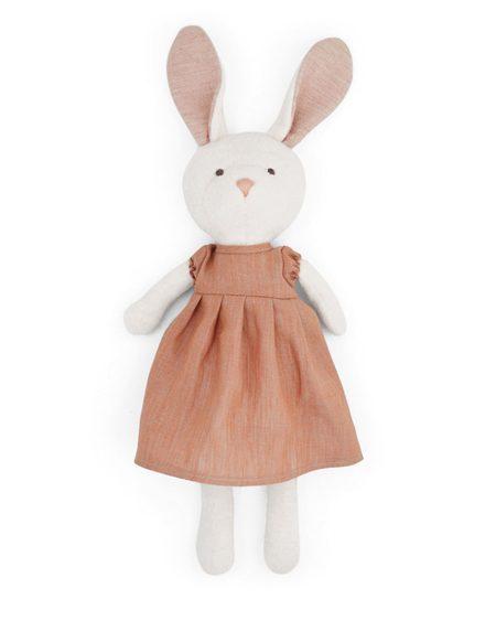 Kids Hazel Village Emma Rabbit Doll in Linen Dress - Clay