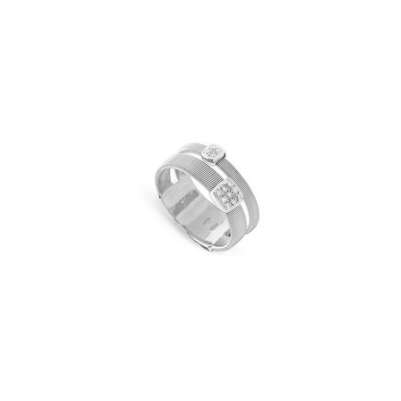 Marco Bicego Masai 18K Two Strand Ring with Diamonds - White Gold