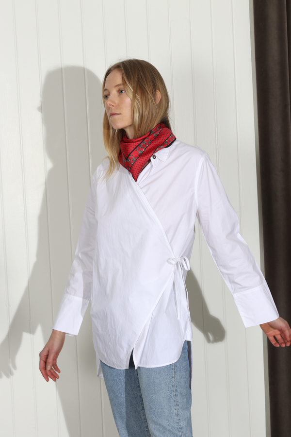 Ganni Olayan Wrap Shirt - Bright White