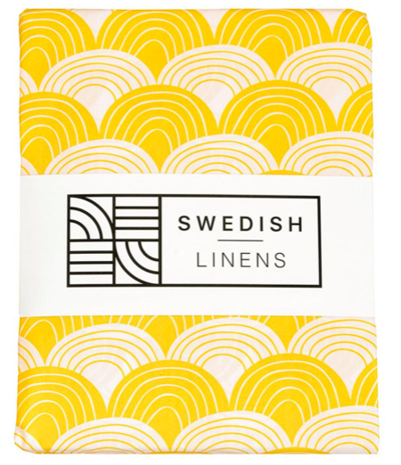 Kids Swedish Linens Organic Fitted Sheets - Mustard Yellow