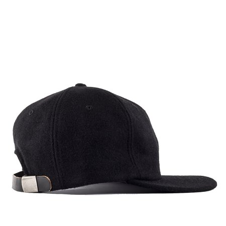 Viberg Six Panel Wool Hat with Shell Cordovan Strap - Black