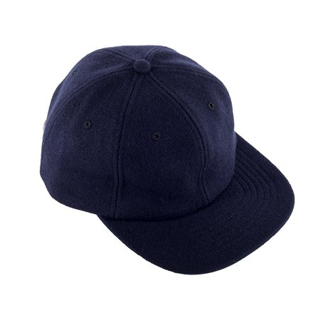 Viberg Six Panel Wool Hat with Shell Cordovan Strap - Navy