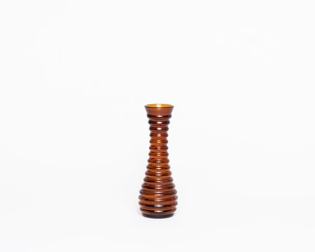 VINTAGE Collected by Wynne Ware Glass Ribbed Vase - AMBER