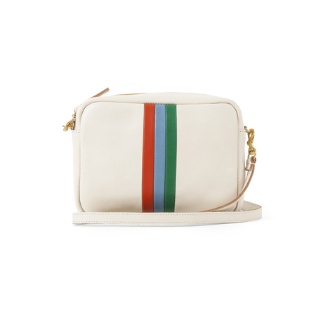 Clare V. Midi Sac in White Rustic W/Poppy Sky Blue And Emerald Italian Nappa Desert Stripes