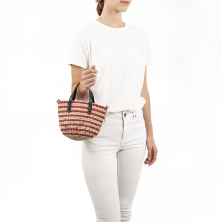 Clare V. Petite Lea Tote in Red And Cream Stripes
