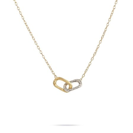 Marco Bicego Delicati 18K Yellow Gold and Diamond Rectangle Link Pendant Necklace