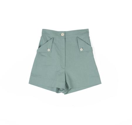 Ilana Kohn Huxie Shorts in Jade Ctn/Linen
