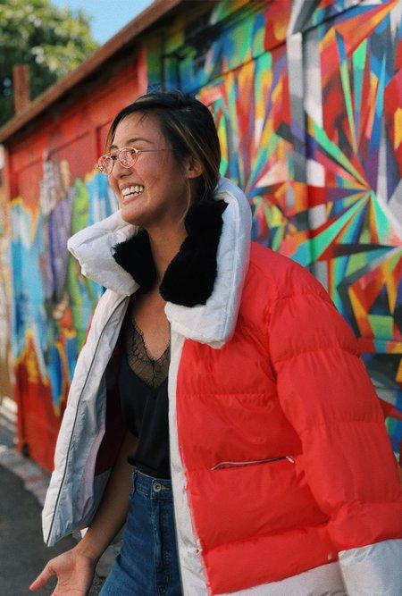 Biannual Short Puffer Faux Fur Supersized Jacket - Fuschia