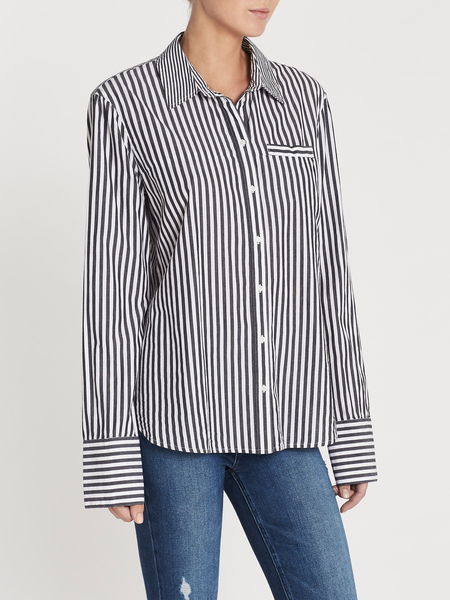 Zoe Karssen Let Love Rule Striped Relaxed Fit Shirt - Salute