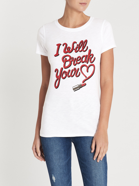 Zoe Karssen I Will Break Your Heart Slim Fit Tee - Optical White