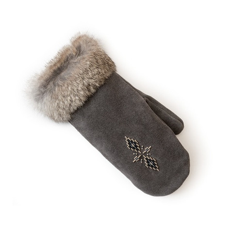 MANITOBAH MUKLUKS - FUR TRIMMED MITTS COAL