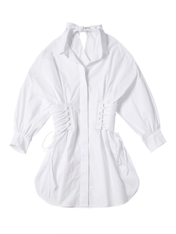KYE Checked Eyelet Corset Shirt Dress