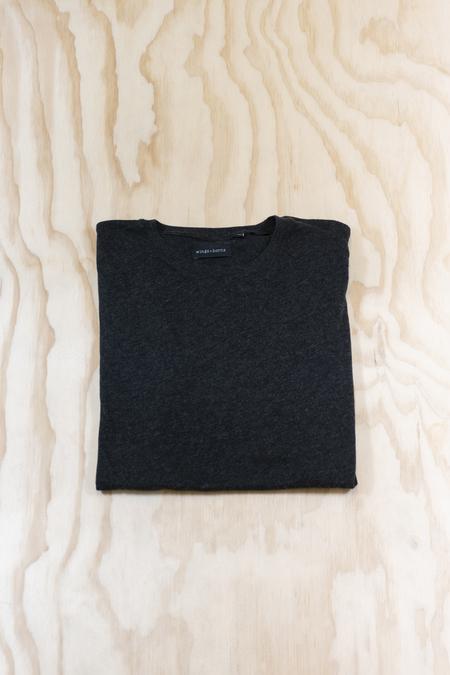 Wings + Horns Cotton Cashmere Short Sleeve V-Neck T-Shirt - Smoke