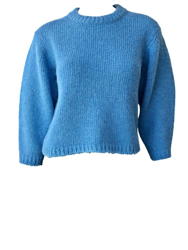 47f058c230 Tibi Cozette Alpaca Cropped Sweater - Sky Blue