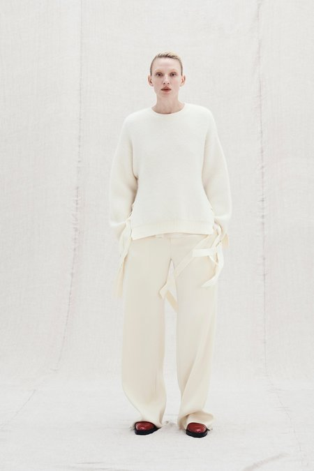 Ms MIN Loose Brushed Knit Sweater with Ties