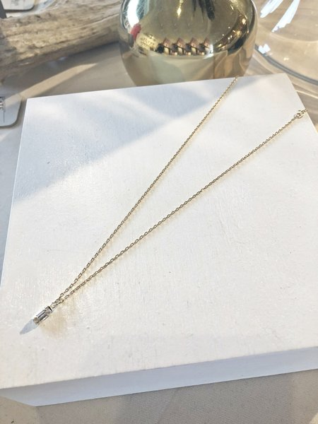 Bing Bang NYC Tiny Baguette Necklace - 14kt yellow gold