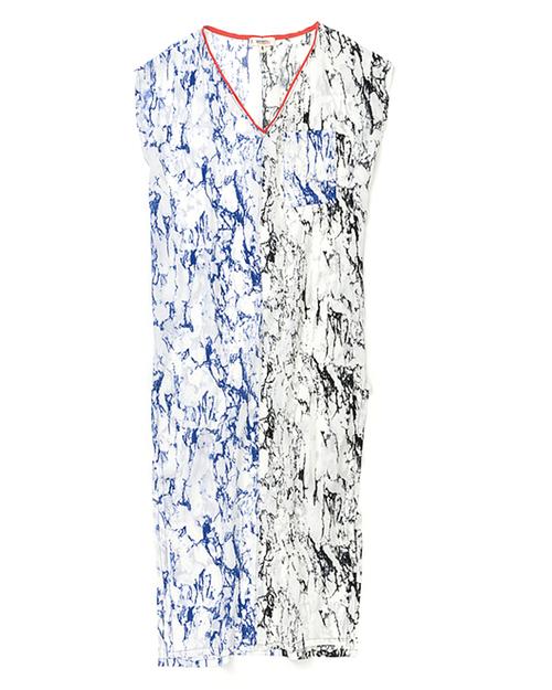 LemLem Hana Silk Caftan Dress in Blue/Black
