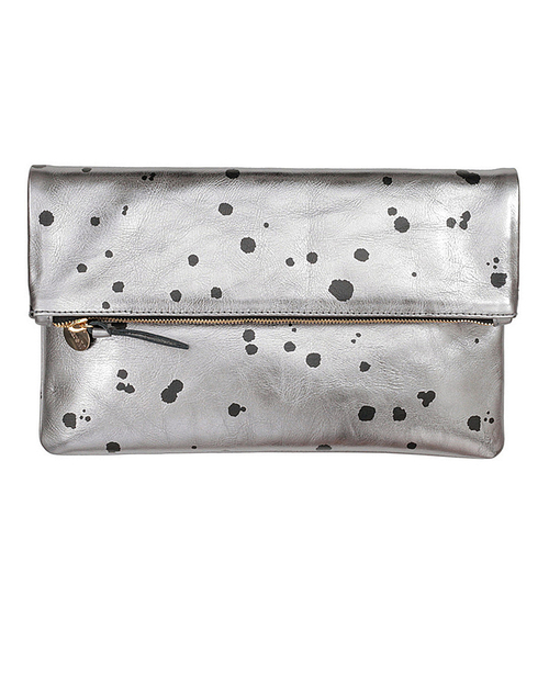 Clare V. Foldover Clutch in Silver Leather with Black Splash Dots
