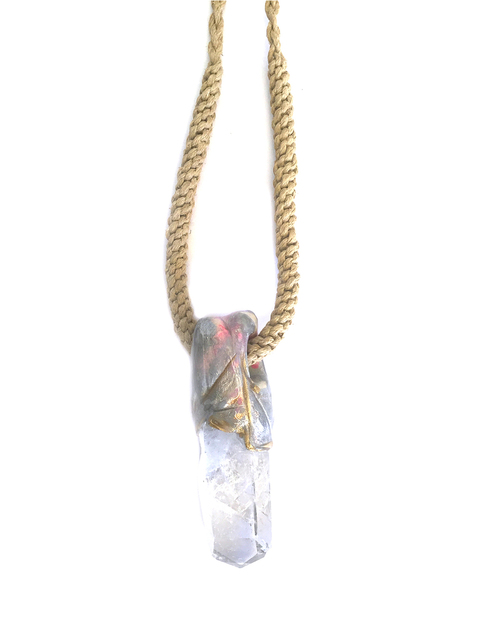 Adina Mills Large Quartz & Hemp Obelisk Necklace