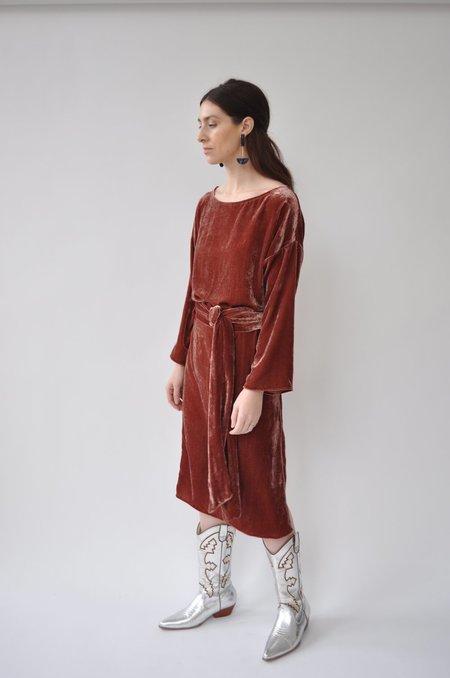 Cocobolo Silk Velvet Tunic Dress - Oxblood