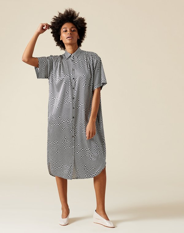 b5ee3735896f6 6397 Oversized Silk Shirt Dress - Black White Print.  695.00. 6397